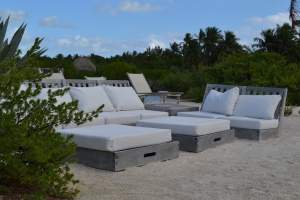 A picturesque lounge area on their beloved island.