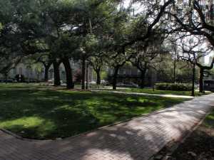 One of the many squares, or parks in Savannah.