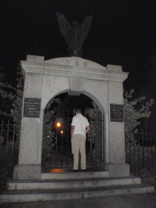 M's not scared of the ghosts in the cemetery.